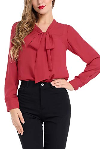 AUQCO Women's Chiffon Blouse Business Button Down Shirt for Work Casual with Long Sleeve/Sleeveless Red