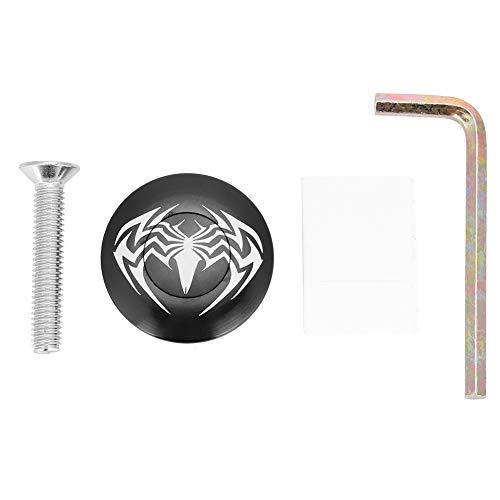 Alomejor Tapa para Auriculares de Bicicleta, aleación de Aluminio, diseño de araña Negra, Redonda, para Accesorios de...