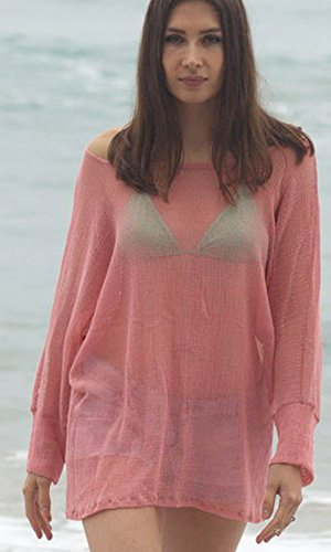 Coral Lace Off-Shoulder Kimono Net Sweater Top, Layering Loose Knit Beach Sweater, Ocean Sweater, Watercolor Top. Size M-XL by Kimonology