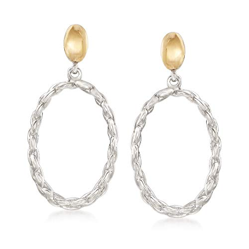 (Ross-Simons Sterling Silver and 14kt Yellow Gold Open Oval Link Drop Earrings)