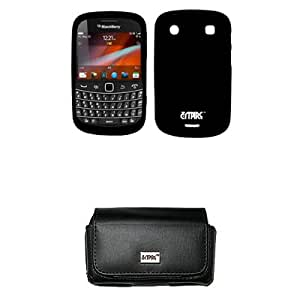 EMPIRE Black Leather Case Pouch with Belt Clip and Belt Loops + Black Silicone Skin Cover Case for T-Mobile BlackBerry Bold 9900