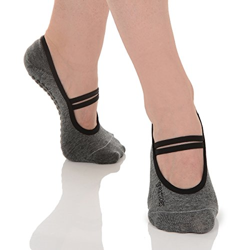 Great Soles Ballet Socks with Grip for Women - Non Slip Yoga Socks for Pilates, Barre (Heather Grey)