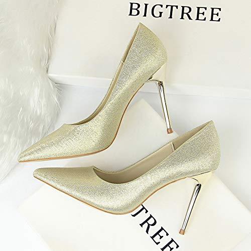Pointed Shoes de Satin zapatos Heels Shallow Autumn High tacón Black Green Gold Yukun Professional Women's alto Stiletto Silk Elegant gnvwT5qqd