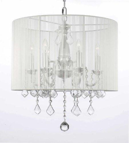 Crystal Chandelier Chandeliers With Large White Shade! H 19.5″ x W 18.5″ Review