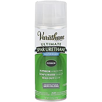 Rust oleum varathane 250181 outdoor spar urethane classic clear water based spray semi gloss for Varathane water based exterior polyurethane