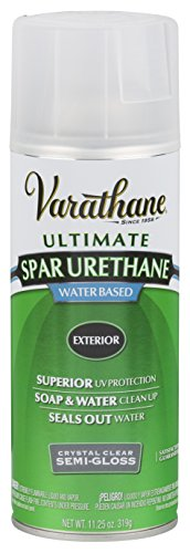 - Rust-Oleum Varathane 250181 Outdoor Spar Urethane Classic Clear Water Based Spray, Semi-Gloss Finish