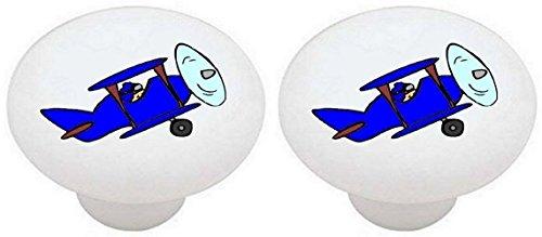 Knob Drawer Plane (SET OF 2 KNOBS - Blue Colorful Airplanes Airplane Plane - DECORATIVE Glossy CERAMIC Drawer PULLS Dresser Drawer KNOBS)