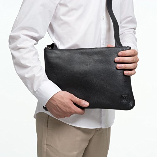 Leather Woman With Mens Strap Flat Slim Zipper Bag Dudu Shoulder Brown Dark Soft Design Adjustable nqzXC8F
