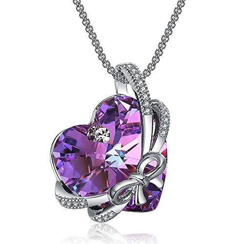 ZIOZIA Love Heart of Bowknot Pendant Necklaces for Women Made with Purple Swarovski Crystal Kids Jewlry for Girls Gifts for Women