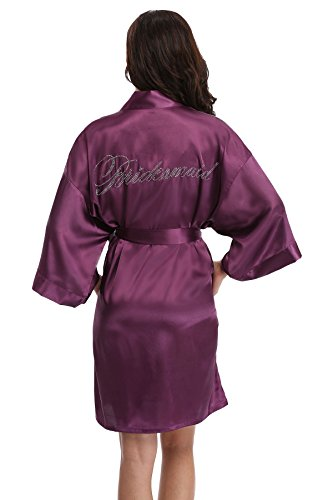 Women's Satin Rhinestone Short Wedding Kimono Robe for Bridesmaid, Purple S
