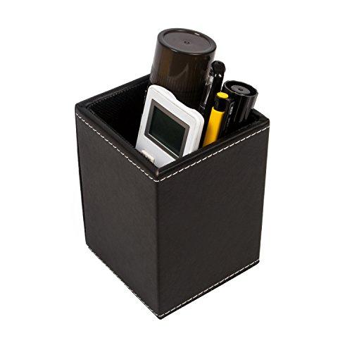 UBaymax PU Leather Desktop Organizer Storage Box Desk Organizer Square Pen/ Pencil/ Remote Control Holder Collection Office Desk Accessories (Black)