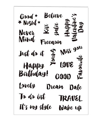 Brush Happy Birthday Good Night Love Words Phrase Stamps Rubber Clear Stamp/Seal Scrapbook/Photo Album Decorative Card Making Clear Stamps
