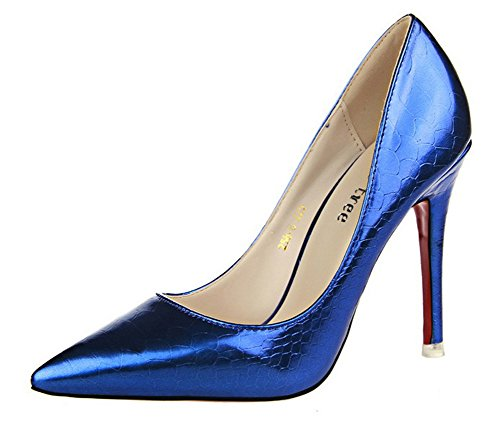 No.66 Town Women's Nightclub Serpentine Stiletto High Heel Pumps Court Shoes Blue