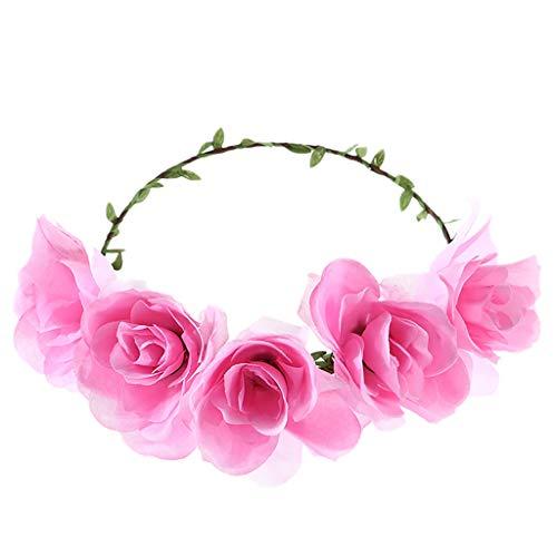Women's Headband Flower Crown Floral 2019 Festival Wedding Hair Wreath Roses Boho Beach Festival Party (Free, Pink)]()