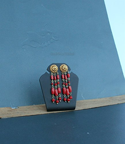 Coral Filigree Earrings - Mediterranean Red Coral Earrings, 14k Gold Chandelier Earrings, Dubrovnik Filigree Earrings *Exp Shipping