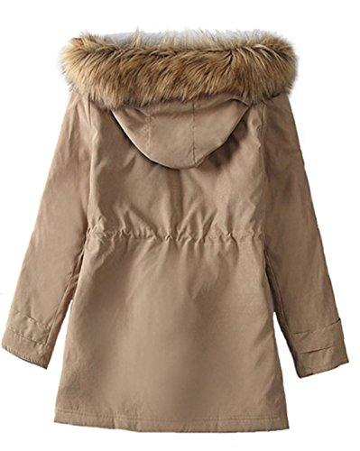 Largo YOGLY Chaquetas Capucha con Abrigo Algodón Mujer Invierno de Abrigo Medio B pelo Gruesas de qIvrIAgaw