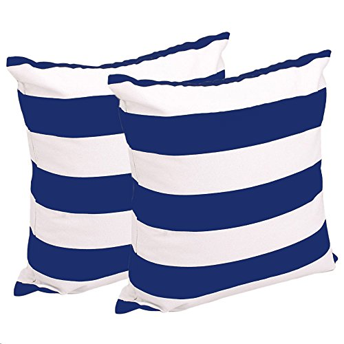 FashionMall Set of 2, Soft Cotton Canvas Stripe Pattern Pillowcase Pillow Covers, 17 Inch X 17 Inch, Royal Blue and White Stripes (Blue And White Striped Pillows)