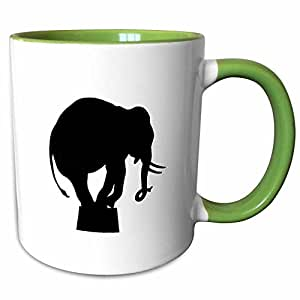 3dRose Florene Black And White - Image of Silhouette Of Elephant On Box - 11oz Two-Tone Green Mug (mug_237049_7)