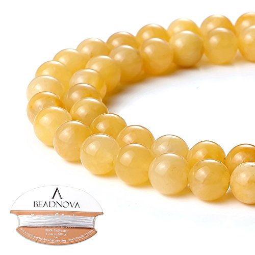 Jade Beads Necklace Earring - BEADNOVA 8mm Natural Yellow Jade Gemstone Round Loose Beads for Jewelry Making (45-48pcs)