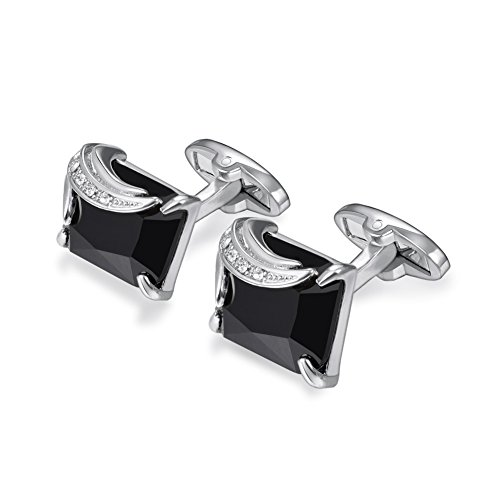 U7 Crystal Cufflinks Women Men Metal Gold/Platinum Plated Fancy Stone Cuff Links (Black & Platinum)
