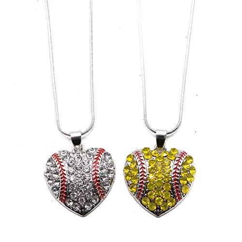 2 Piece Girl Baseball - JETEHO 2 pcs Crystal Heart Baseball or Softball Pendant Necklaces for Women&Girls