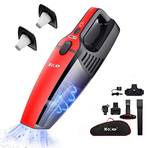 Handheld Vacuum Cordless, MECO Cordless Vacuum【2020 Upgraded Version】 Rechargeable Wet and Dry 800ml Dust Box Two Speeds Adjustable, Dual Filter, Carrying Bag Included for Car Home Pet Hair
