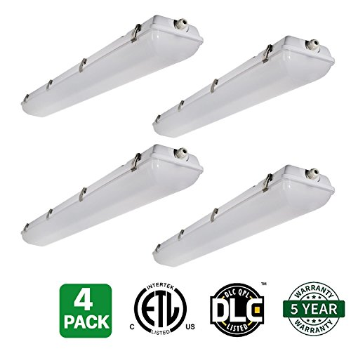 4 Pack Hykolity 4' LED Vapor and Water Tight Light Fixture 40W [80W Equivalent] 5000lm 5000K IP66 Waterproof Industrial Grade Shop Light Cooler Lamp Outdoor Patio Porch Light DLC Premium 4.2 Qualified