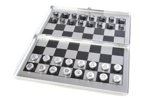Attica Alu Series: chess - in aluminium box, travel set with magnetic game pieces, playing board 15cm x 16cm x 0,5cm (XY015P US)