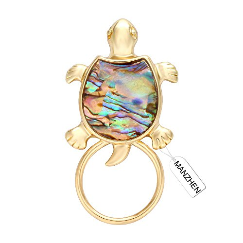 Abalone Turtle - MANZHEN Gold Sea Turtle Natural Abalone Shell Magnet Clip Magnetic Eyeglass Holder Brooch Jewelry(gold)