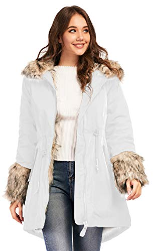 TIENFOOK Womens Parka Jacket Winter Coat with Drawstring Waist Thicken Fur Hood Lined Warm Reversible Design Outwear Jacket (White, Large)
