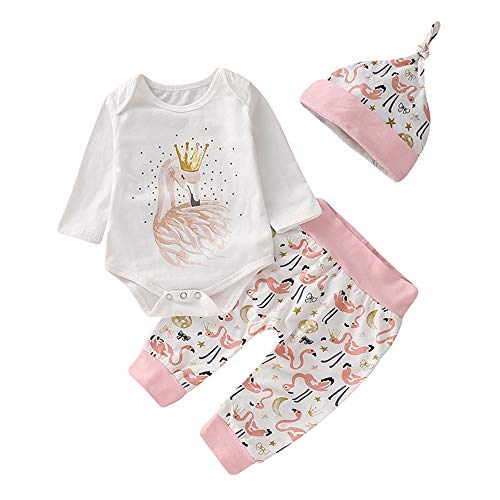 Happy Town Baby Girls Clothes Set Kids Long Sleeve White Romper + Flamingo Print Long Pants Autumn Outfits (White, 0-6 Months)