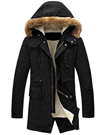 LILBETTER Men's Hooded Faux Fur Lined Warm Coats Outwear Winter ...