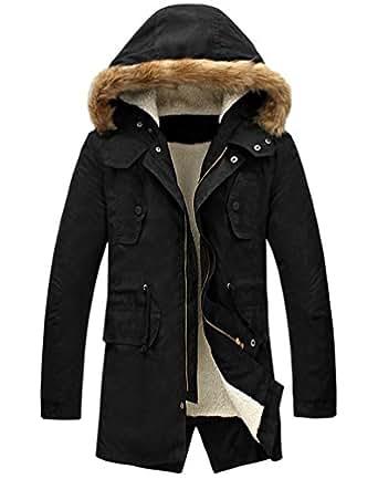 LILBETTER Men's Winter Thicken Warm Hooded Jacket Outwear