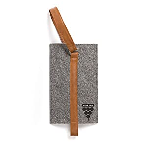 Carpe Vino Felt & Vegan Leather Single Bottle Wine Bag - Charcoal & Brown Tote