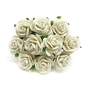 """1/2"""" White Mulberry Paper Flowers, Paper Rose, White Flowers, Floral Crown Flowers, DIY Wedding, Wedding Decor, Wedding Table Flowers, White Wedding, Artificial Flowers, 50 Pieces 50"""