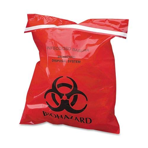 Red Pack of 50 Medium 24 Length x 24 Width 7-10 gallon Capacity First Voice BHAZ01-50 Biohazard Waste Disposable Bag