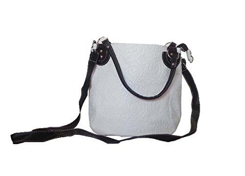 a Bianco borsa delle bianca donne maniglie Top motivo cross Marrone zainetti floreale Con Cintura tracolla borsa corpo vitorian q6wE5