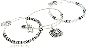 Alex and Ani Women's Mom Set of 3 Bangle Bracelet, Rafaelian Silver, Expandable
