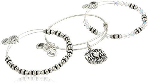 Alex and Ani Women's Mom Set of 3 Bangle Bracelet, Rafaelian Silver, Expandable