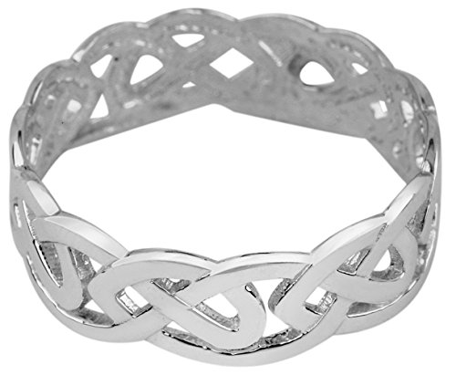 Fine 10k White Gold Celtic Wedding Band Trinity Knot Eternity Ring (7)