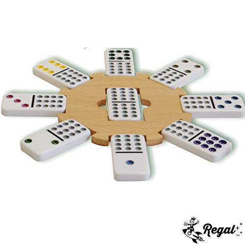 Regal Games Double 12 Colored Dot Dominoes Mexican Train Game Set with Wooden Hub, 91 Domino Tiles, 4 Metal Trains, and Collectors Tin