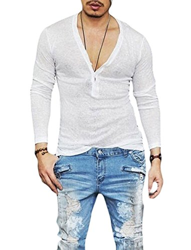 Men's Deep V Neck Slim Fit Long Sleeve T-Shirt Blouse (White-2 Days delivery, US-S)