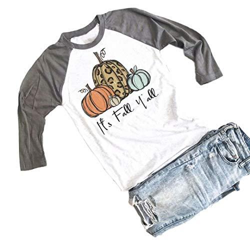 Baseball Halloween Quotes (BANGELY Its Fall Yall Halloween Cute T Shirt Women Leopard Pumpkin Graphic Shirts Fall Casual 3/4 Sleeve Raglan Tees Tops)