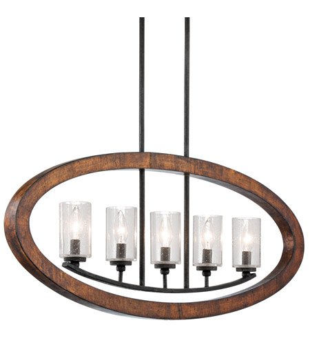 - Kichler 43186AUB Grand Bank Linear Chandelier 5-Light, Auburn Stained Finish
