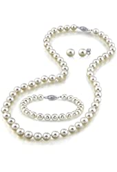 "14K Gold 7-8mm White Freshwater Cultured Pearl Necklace, Bracelet & Earrings Set, 18"" - AAA Quality"