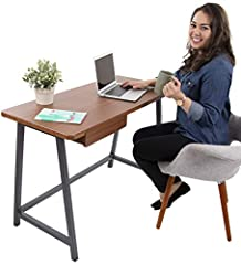 Mod Desk by Joy Apartment Desk | Compact Industrial Computer Desk for Home Office | Wood Writing Desk with Metal Frame (Mahogany) (19.5 x 43) Stand Steady's Joy line is all about bringing joy into your home! The Mod Desk is the perfect additi...