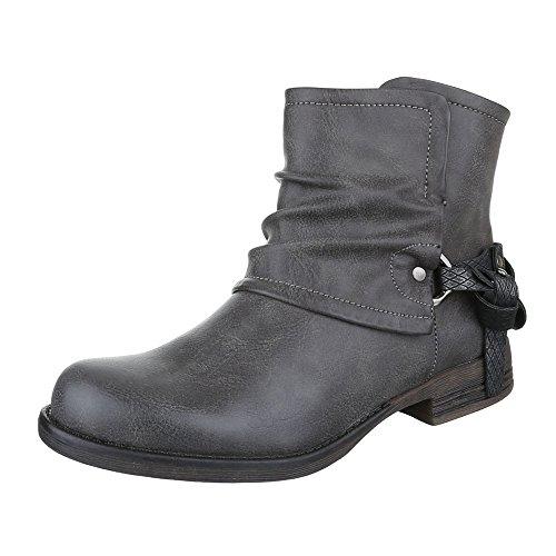 Ital-Design Boots/Bikerboots Damen Schuhe Biker Boots Blockabsatz Moderne Reißverschluss Stiefeletten Grau