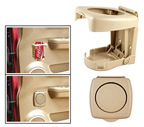 Vocado® Foldable Car Drink/Can/Bottle Holder Set of 2 Beige for Tata Safari Dicor 2.2