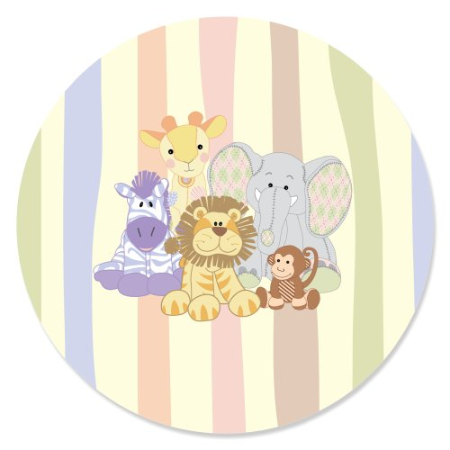 Zoo Crew - Zoo Animals Baby Shower or Birthday Party Circle Sticker Labels - 24 Count ()