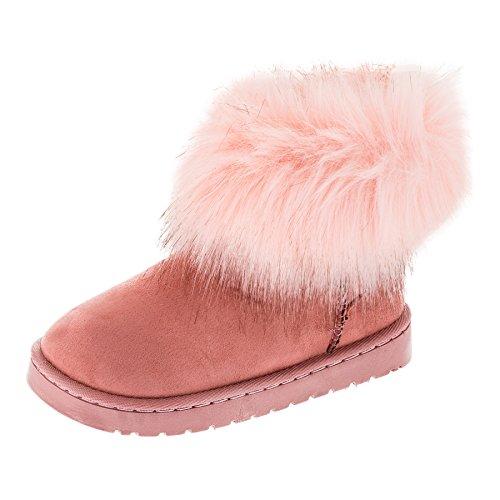 Rock Gefütterte Kuschelige Mädchen Boots Stiefel in Vielen Farben M275rs Rosa Gr.35